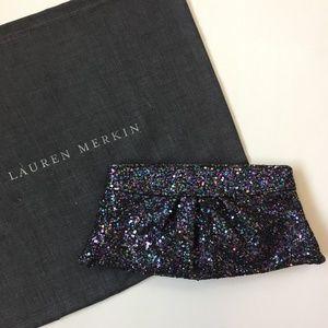 Lauren Merkin Black Glitter Clutch